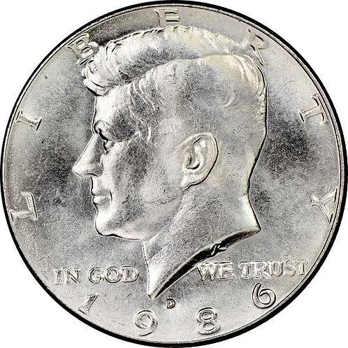 1986-D Kennedy Half Dollar in BU