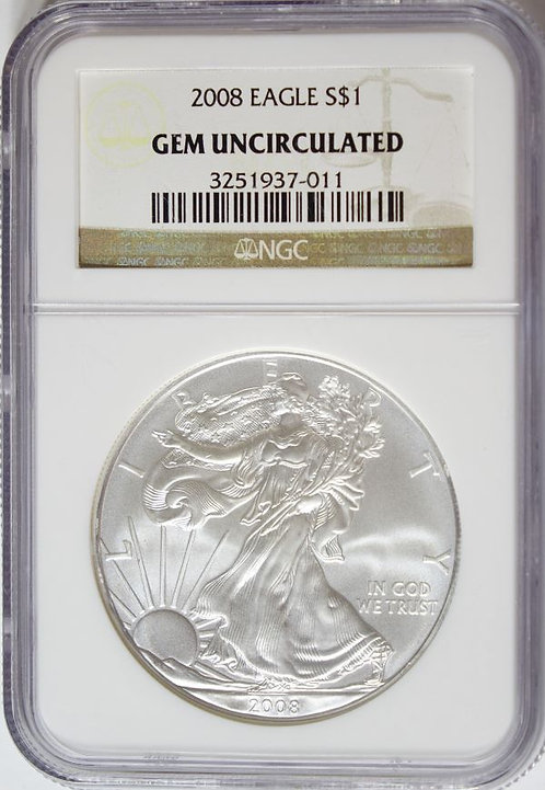2008 1-oz American Silver Eagle NGC GEM UNCIRCULATED