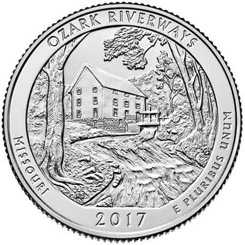 2017-S Ozark Riverways National Park Quarter in BU