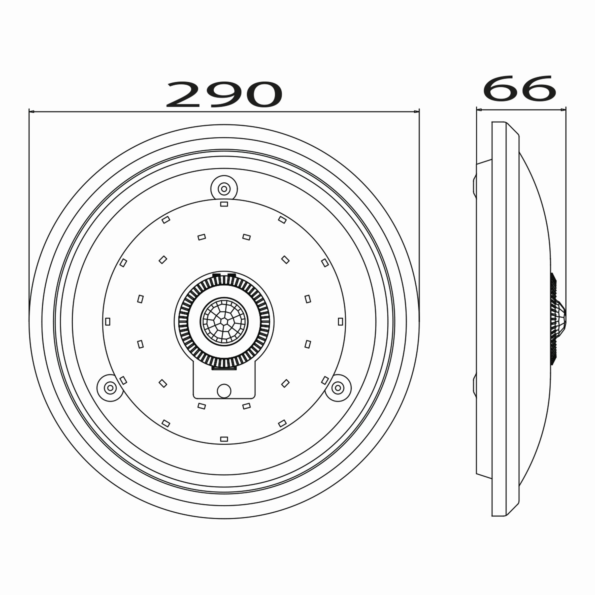15w Ledli Sensörlü Armatür Teknik Çizim.
