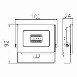 10w Ledli Projektör Teknik Çizim