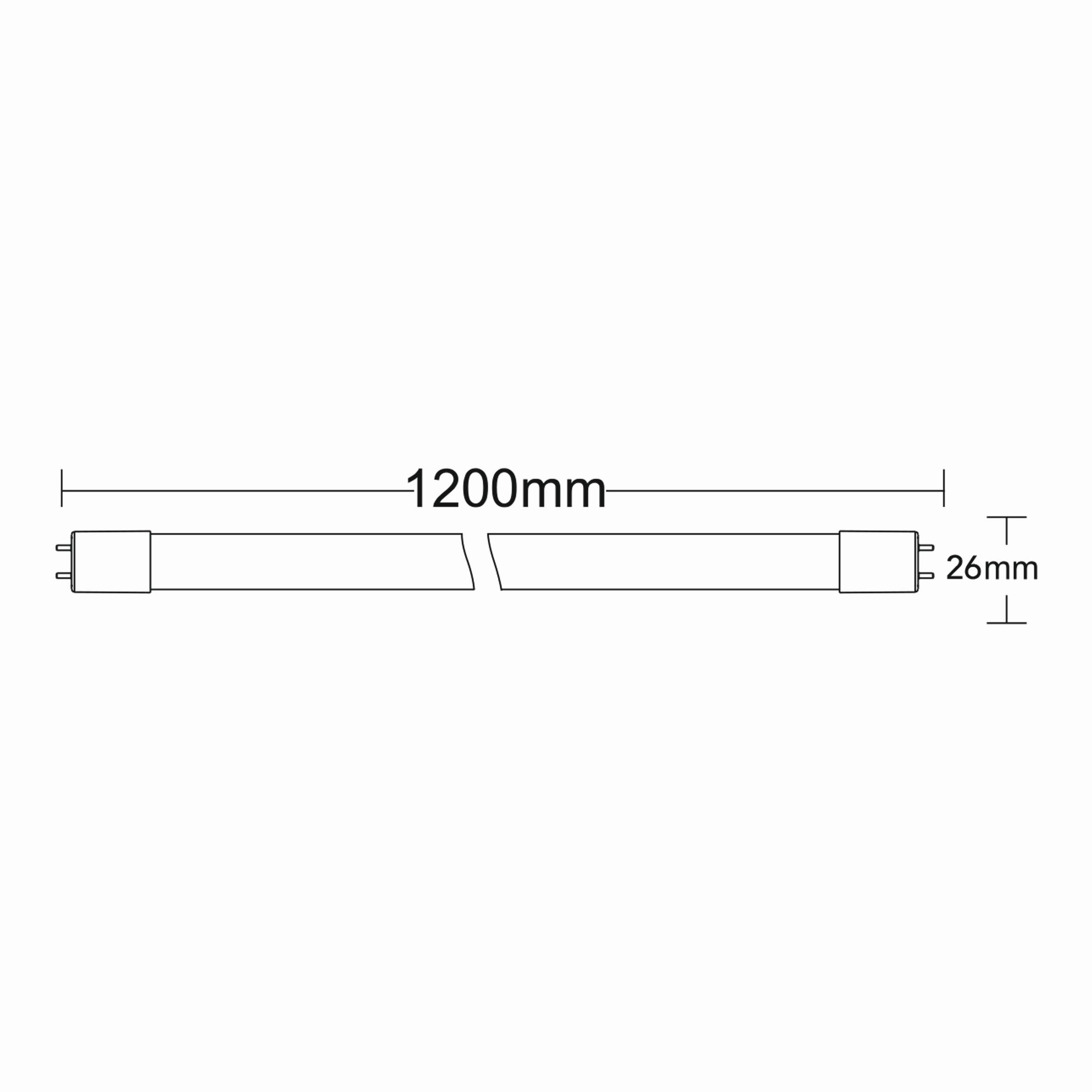 18w G13 1.2mt Ledli Tüp Teknik Çizim