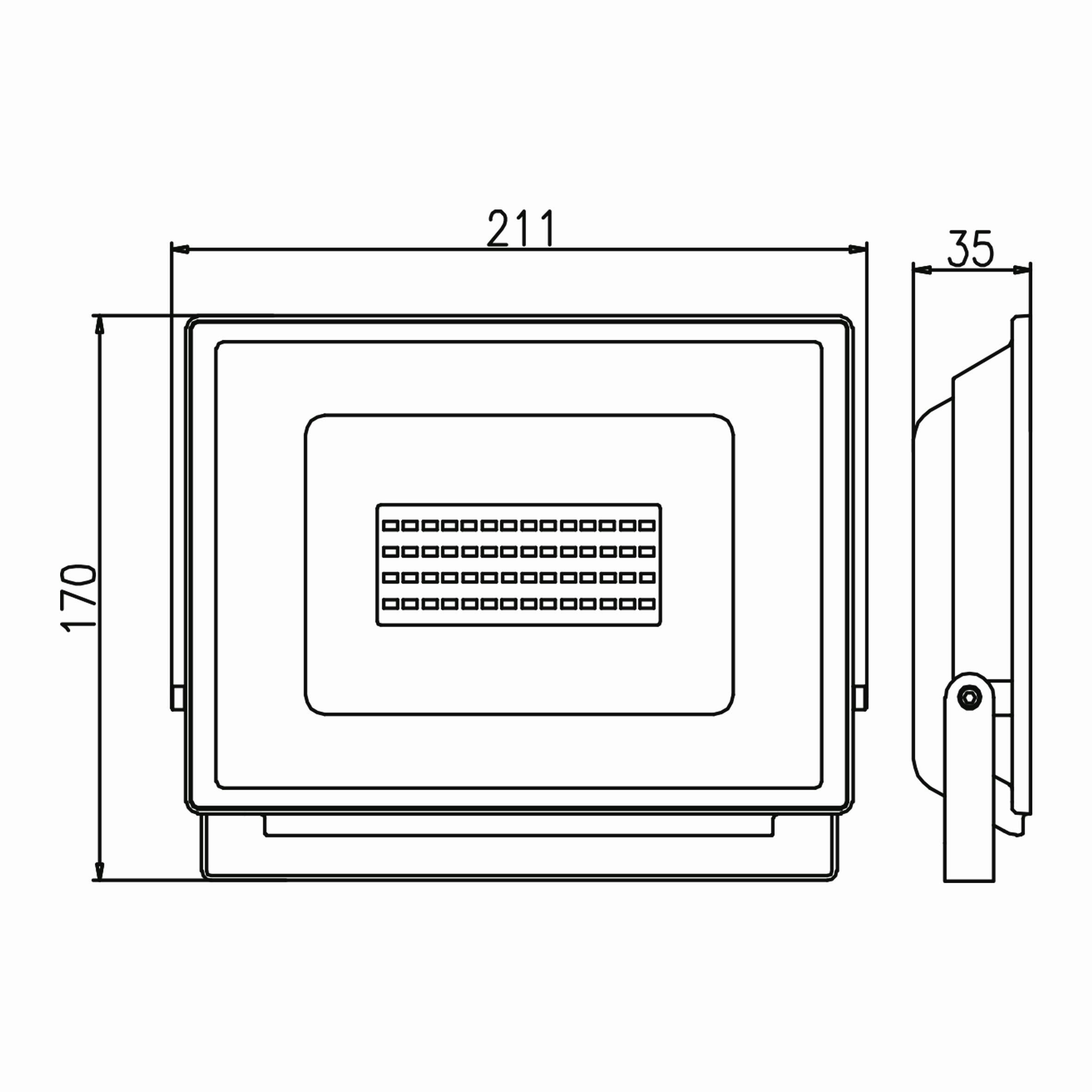 50w Ledli Projektör Teknik Çizim