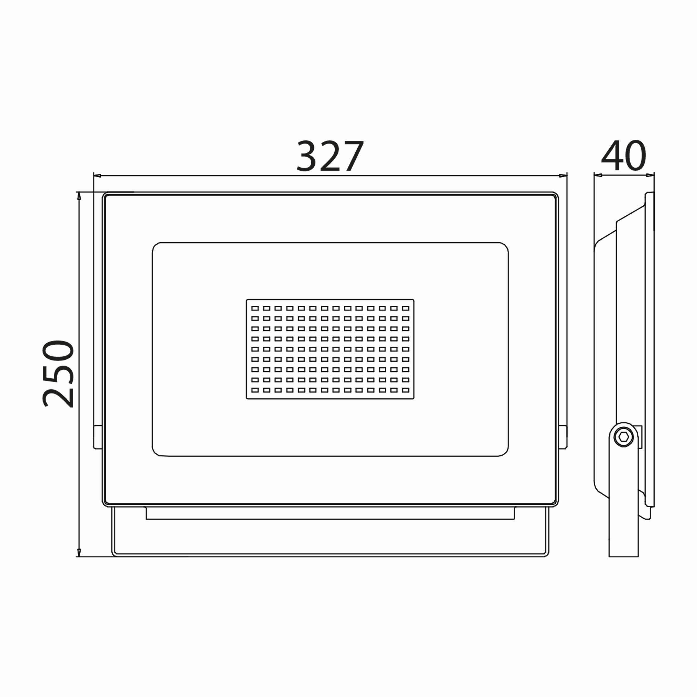 100w Ledli Projektör Teknik Çizim
