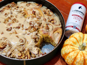 Yalla, Let's Eat Pumpkin Cinnamon Rolls with La Colombe Cream Cheese Frosting !
