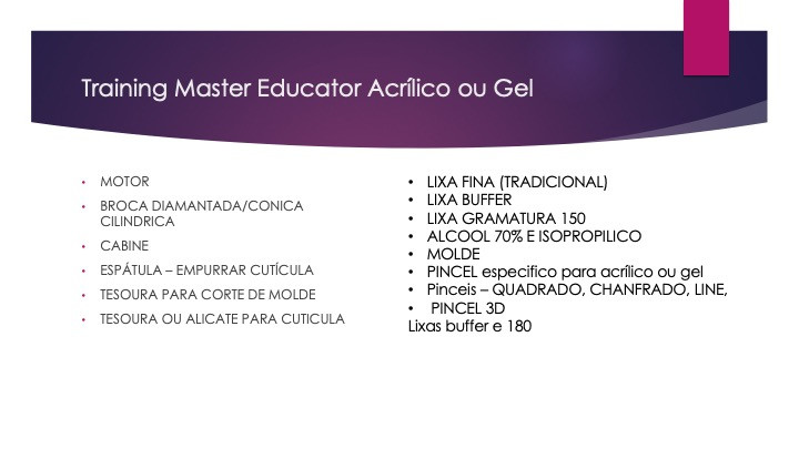 training acrilico e ou gel