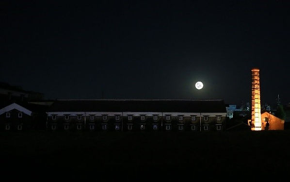 Full moon floating in the sky of Daikoku