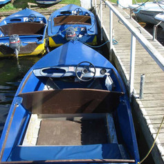 Blue hire boat