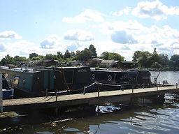 Hampton Ferry Boathouse moorings for narrowboats