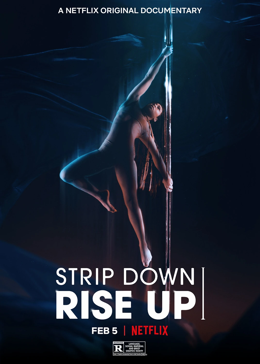 A pole dancer is the centre of the image as she glows in a golden costume, pushing herself out from the left hand side of the silver pole. The background is entirely a dark blue with a neon haze that highlights the dancer in the middle.