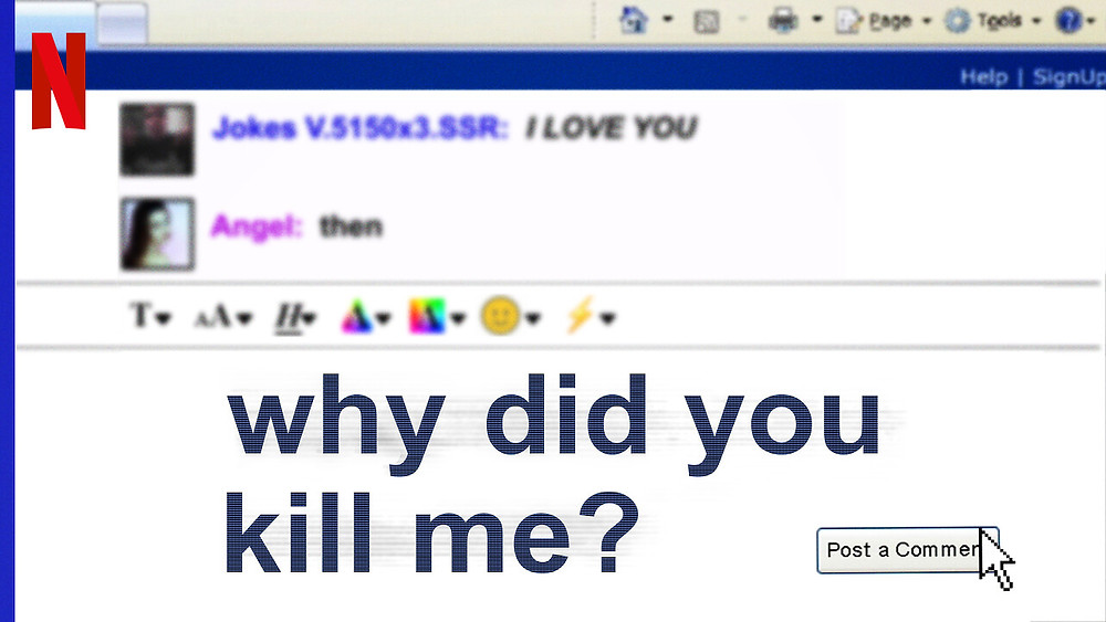 An enlarged screenshot from a social media platform format; two users can be seen, one states 'I LOVE YOU' and the other 'then (...) why did you kill me?'