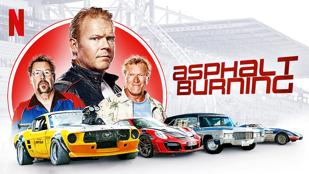 Three men are seen to stand in a triangle formation in the left hand corner of the image, as the bottom of the image is lined with four brightly coloured racing cars — (left to right) yellow, red, silver and blue. The overall background of the image is whitewashed to let the outlining of red around the men and the title of the film itself stand out.