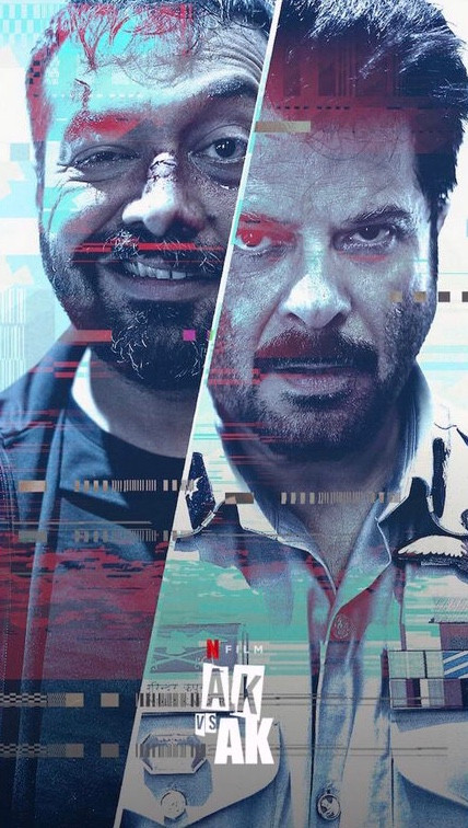 The two main male characters of the film can be seen at the full length of the image, a large diagonal line splits their bodies and faces in two as blue and red glitch lines can be seen printed in the entirety of the film poster.