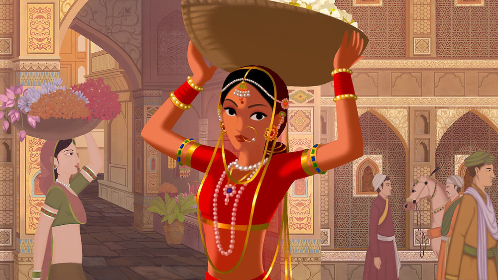 The main character of Bombay Rose stands in the centre of the imagine, raising a basket over her head and wearing all red and golden trimmed clothing. She is the most vibrant part of the image as she stands in front of beige buildings with intricate carvings in the stones - small bursts of colour such as blue and green can be seen in the carvings too.