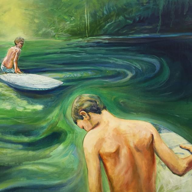 Pond paddleboarding kind of day