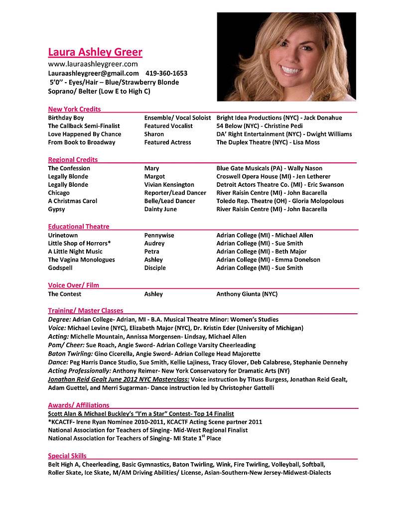 Laura Ashley Greer Musical Theatre Singer and Actress | Resume