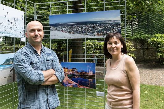 Exposition dans les jardins du ministère de la fonction publique...
