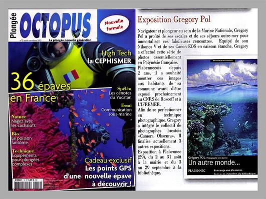 """Le magazine de plongée """"Octopus"""" parle de mon exposition..."""