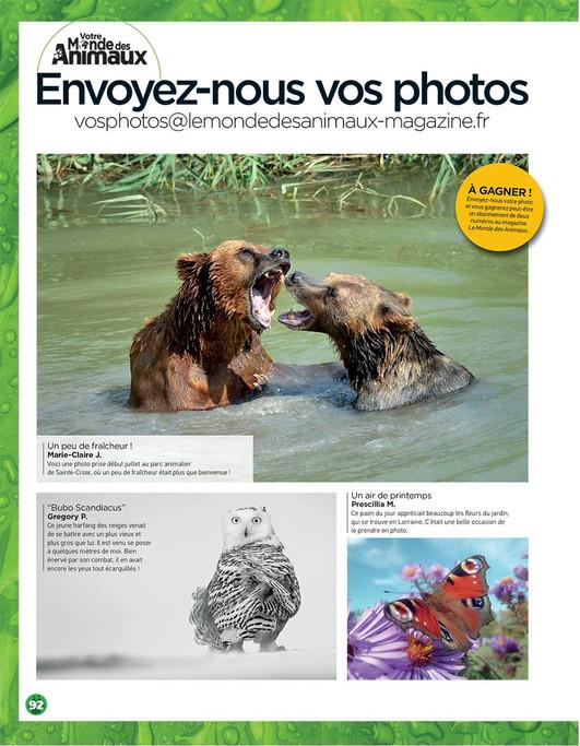 """Une de mes photos dans """"Le Monde des Animaux, le magazine préféré de mes enfants..."""