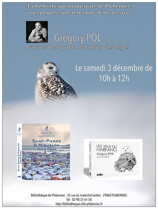 Séance Rencontre/Signatures pour le photographe animalier Grégory POL à la Bibliothèque de Plabennec