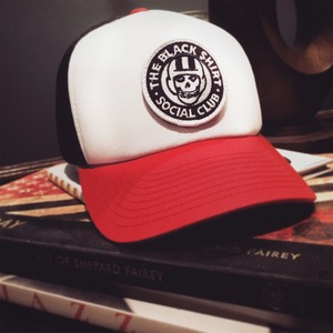 Big Red Bill (and button). Soft White Foam Front Panel. Black Mesh Snapback. Velcro (Swappable) Embroidered 2019 BSSC Design