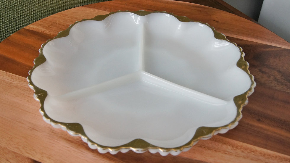 White Milk Glass, Divided Dish with gold trim, Mid Century