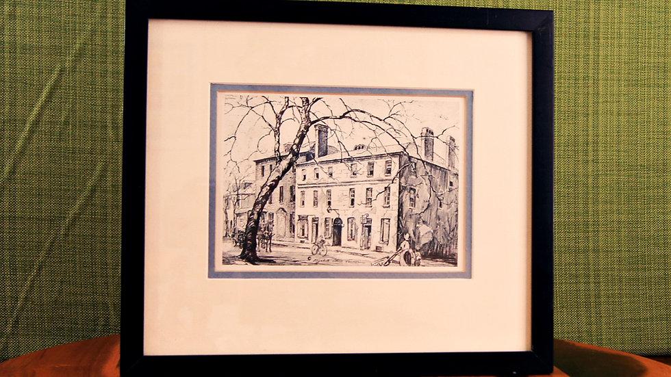 Vintage Framed Print of Catfish Row Etching by Elizabeth O'Neill Verner