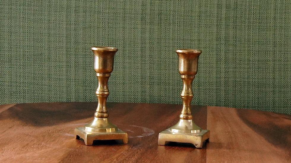 Small Brass Candlesticks, set of 2