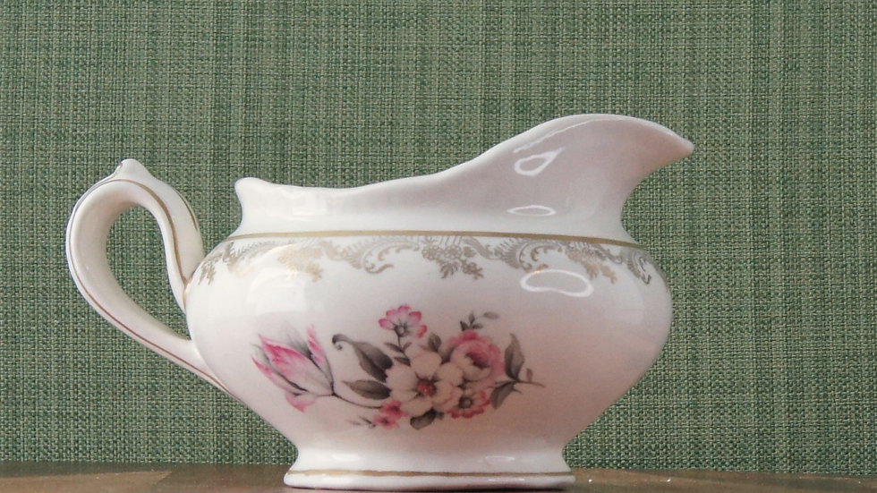 Savoy Cream Pitcher, gold accents, grey and pink floral accents