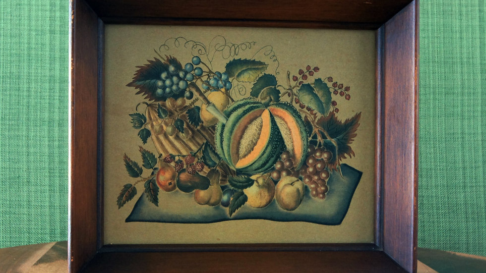 Vintage Framed Prints, Fruit and Veggies, Set of 2