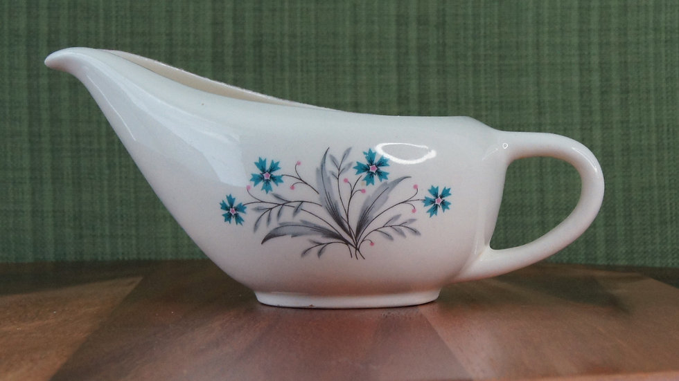 Vintage Mid Century Gravy Boat, Teal, pink and grey floral pattern