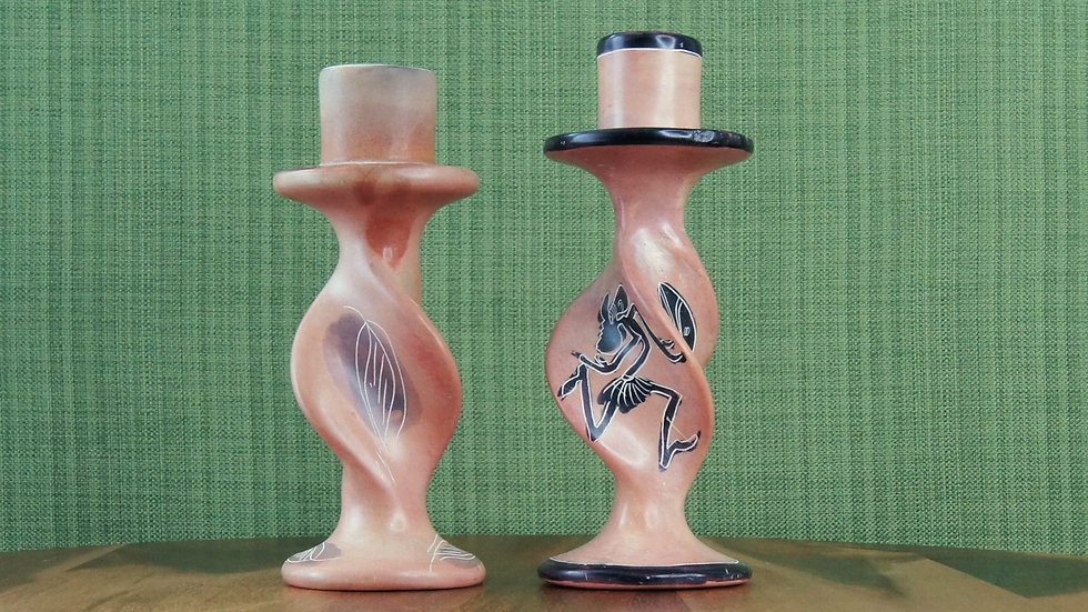 Hand Carved Soap Stone Candlesticks.  Pink with Black and Grey accentSet of two.