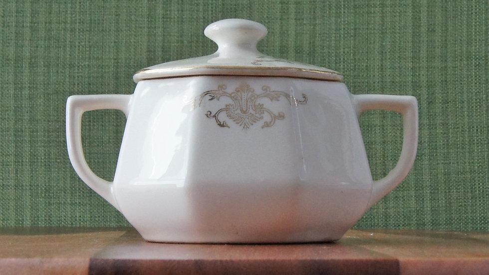 Homer Laughlin Sugar Bowl, with 22 k gold details