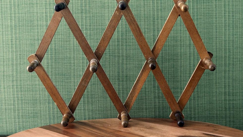 Vintage 10 Peg, Accordion Style Boho Hanging Rack