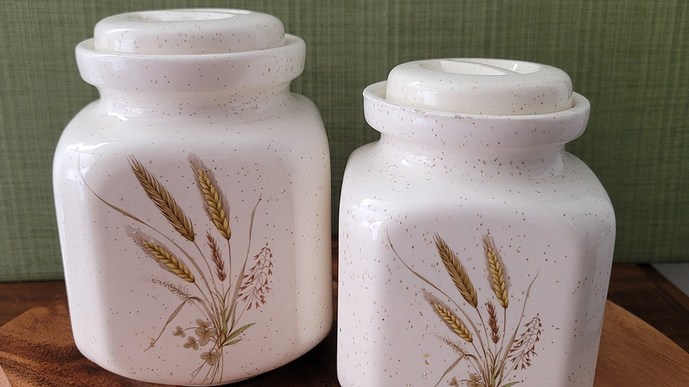 Vintage Pottery Craft USA Canisters, set of 2
