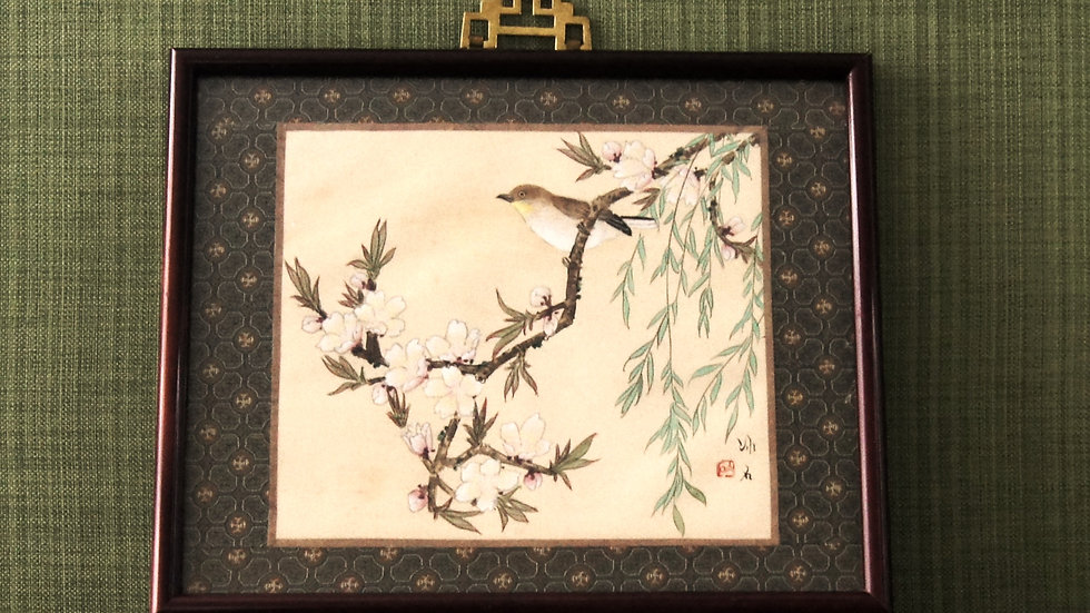 Hand Painted Watercolor mounted on fabric, Asian Art