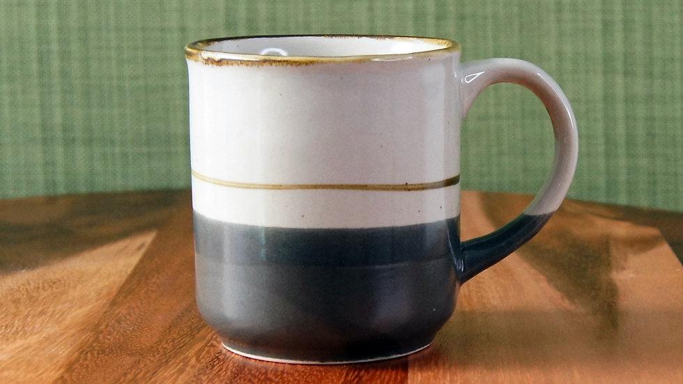 Vintage Ceramic Mug Grey and Blue