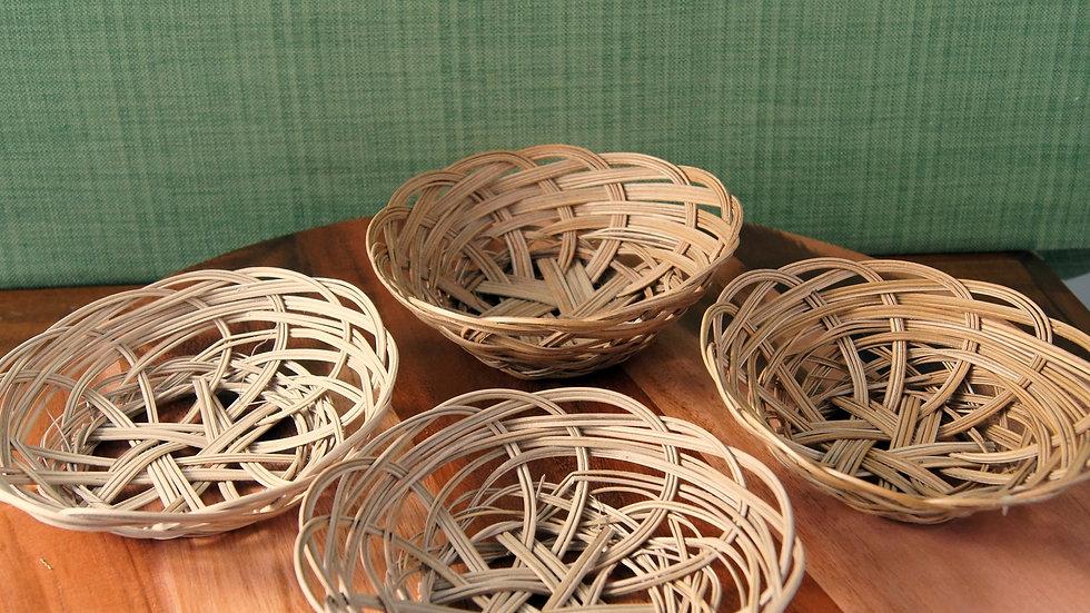 Four Vintage Boho Wall Decor Baskets