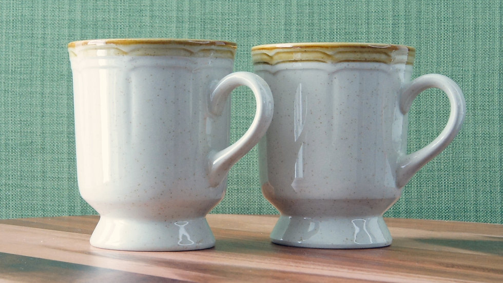 Set of Two Crown Manor Stoneware Mugs. Cream and Brown