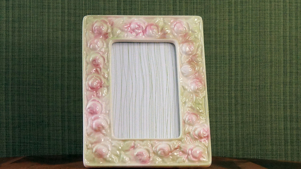 Vintage Ceramic Frame with Roses, watercolors, pink and green