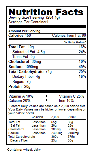 Chicken & Broccoli Baked Penne Nutrition Facts Label