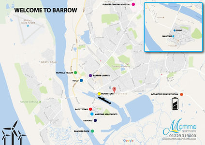 Location Map Barrow in Furness, Maritime Apartments