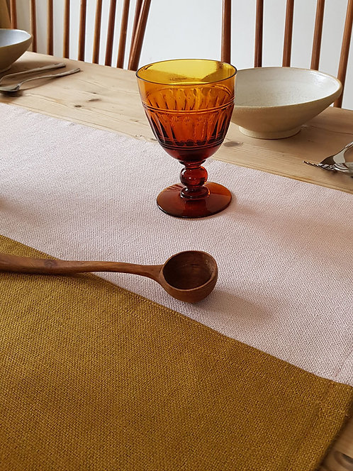 Dusty Pink & Ochre, two- tone Table Runner