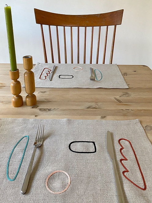 Shapes (Double-stitch) Natural Placemats - Set of 2