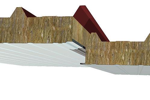 """פנל מבודד לגג עם צמר סלעים עמיד אש 50 מ""""מ צבע לבן"""