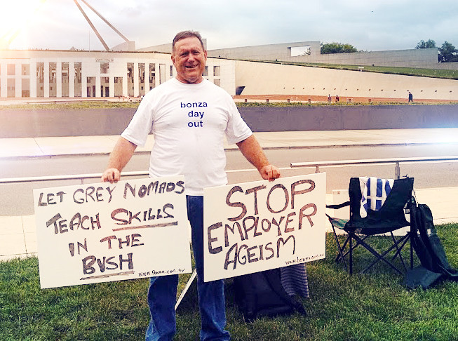 Author Brian Murphy protests in front of Parliament