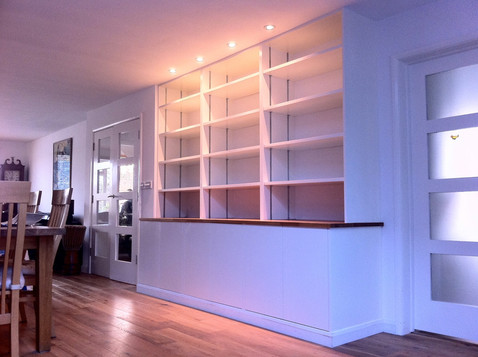 Modern wall unit with oak top