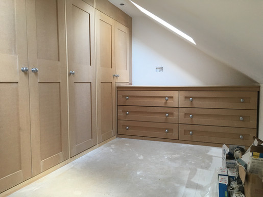 Shaker style wardrobes and drawer unit in mdf