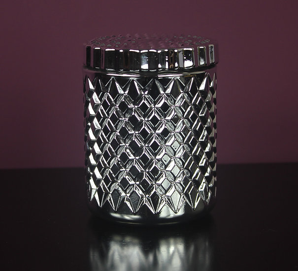 Silver Flat Top Geo Soy Wax Candle
