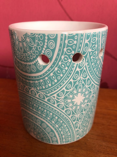Teal Patterned Wax Burner plus a pack of Soy Wax Melts